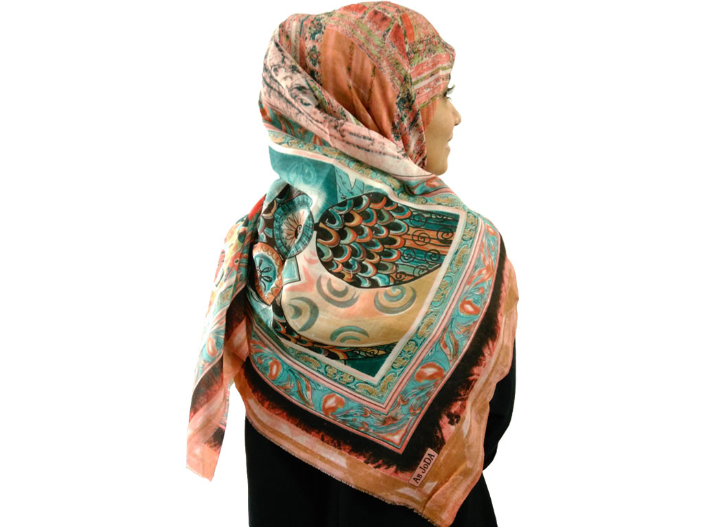 روسری نخی طرح جغد کد 385 | روسری نخی جغدی گلبهی | فروشگاه تخصصی شال و روسری کاشانه