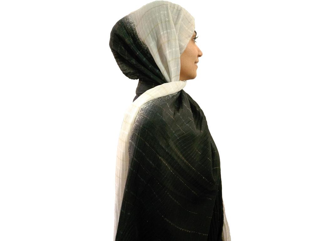 شال پلیسه طیفی طوسی مشکی 460   خرید شال پلیسه طیفی   فروشگاه تخصصی شال و روسری کاشانه