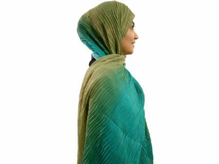 شال پلیسه طیفی سبز آبی 462 | خرید شال پلیسه طیفی | فروشگاه تخصصی شال و روسری کاشانه