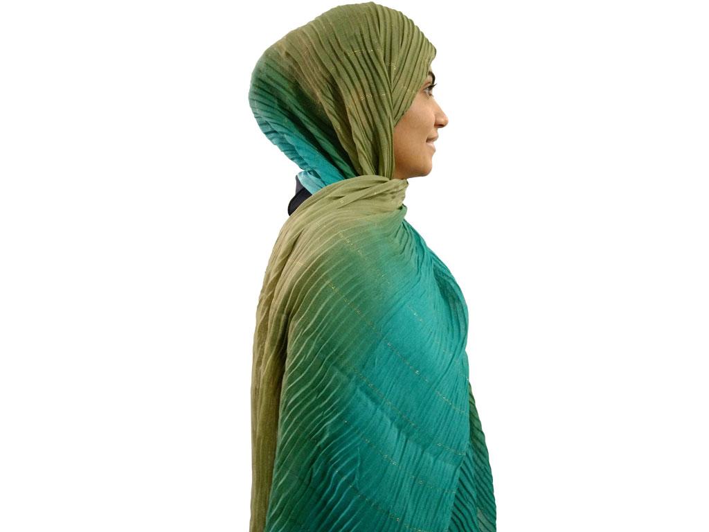 شال پلیسه طیفی سبز آبی 462   خرید شال پلیسه طیفی   فروشگاه تخصصی شال و روسری کاشانه
