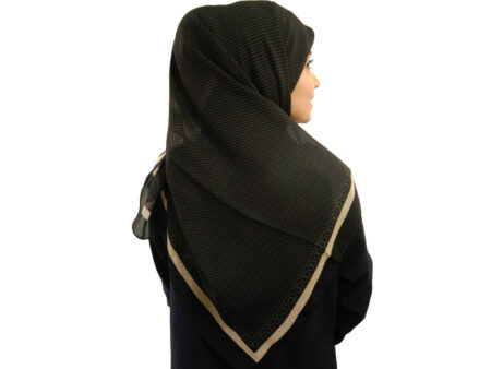 روسری حریر کرپ خال خالی 482 مشکی