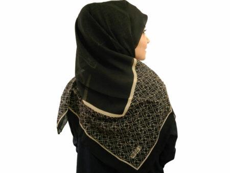 روسری حریر کرپ مشکی 488