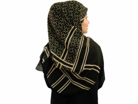 روسری حریر کرپ مشکی 490
