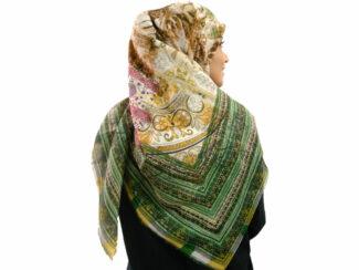 روسری نخی ریشه پرزی 492 قواره بزرگ | خرید روسری نخی قواره دار | فروشگاه تخصصی شال و روسری کاشانه
