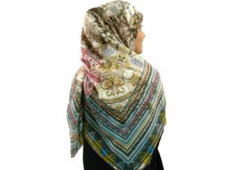 روسری نخی ریشه پرزی 493 قواره بزرگ | خرید روسری نخی قواره دار | فروشگاه تخصصی شال و روسری کاشانه