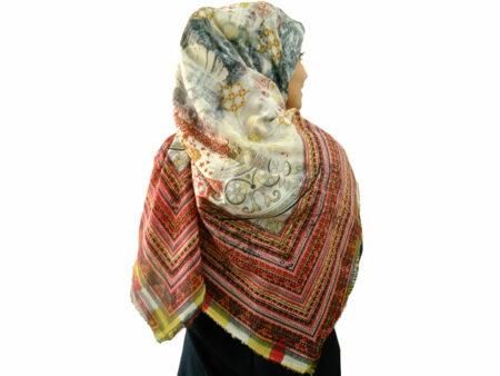 روسری ریشه پرزی نخی 494 | خرید روسری قواره بزرگ | خرید روسری نخی