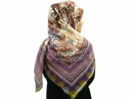 روسری نخی ریشه پرزی 495 قواره بزرگ | خرید روسری نخی قواره دار | فروشگاه تخصصی شال و روسری کاشانه