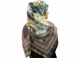 روسری نخی ریشه پرزی 496 قواره بزرگ | خرید روسری نخی قواره دار | فروشگاه تخصصی شال و روسری کاشانه