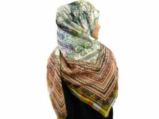 روسری نخی ریشه پرزی 497 قواره بزرگ | خرید روسری نخی قواره دار | فروشگاه تخصصی شال و روسری کاشانه