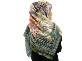 روسری نخی ریشه پرزی 498 قواره بزرگ | خرید روسری نخی قواره دار | فروشگاه تخصصی شال و روسری کاشانه