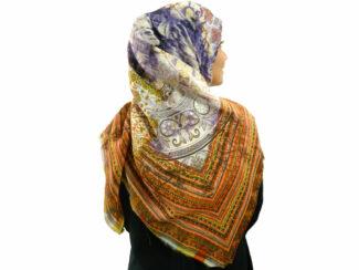 روسری نخی ریشه پرزی 499 قواره بزرگ | خرید روسری نخی قواره دار | فروشگاه تخصصی شال و روسری کاشانه