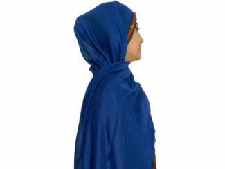 شال نخی نواردوزی شده آبی کاربنی 629 | خرید شال آبی کاربنی | خرید شال روسری