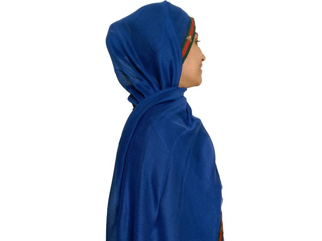 شال نخی نواردوزی شده آبی کاربنی 629   خرید شال آبی کاربنی   خرید شال روسری
