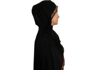 شال نخی نواردوزی شده مشکی 631 | خرید شال مشکی | فروشگاه اینترنتی کاشانه