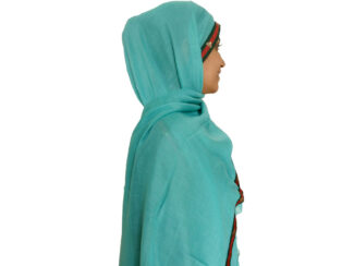 شال نخی نواردوزی شده سبزآبی 632 | خرید شال سبزآبی | فروشگاه تخصصی شال و روسری کاشانه