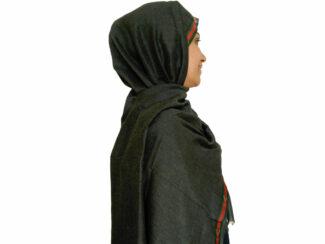 شال نخی نواردوزی شده دودی 634 | خرید شال دودی | خرید اینترنتی شال روسری کاشانه