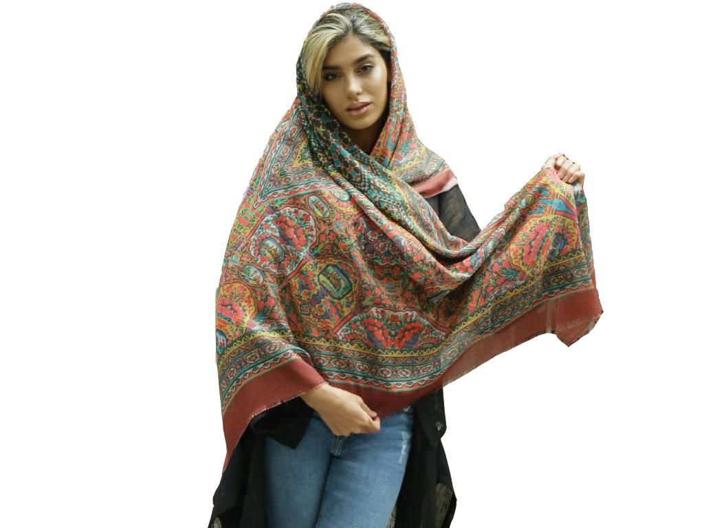 روسری نخی زرشکی چاپ دیجیتال 701