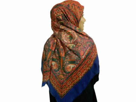 روسری نخی حاشیه آبی کاربنی چاپ دیجیتال ۷۰۳