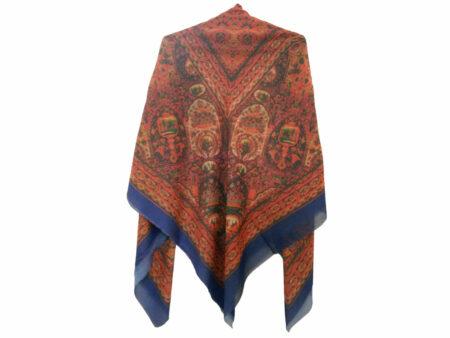 روسری نخی آبی کاربنی چاپ دیجیتال 703