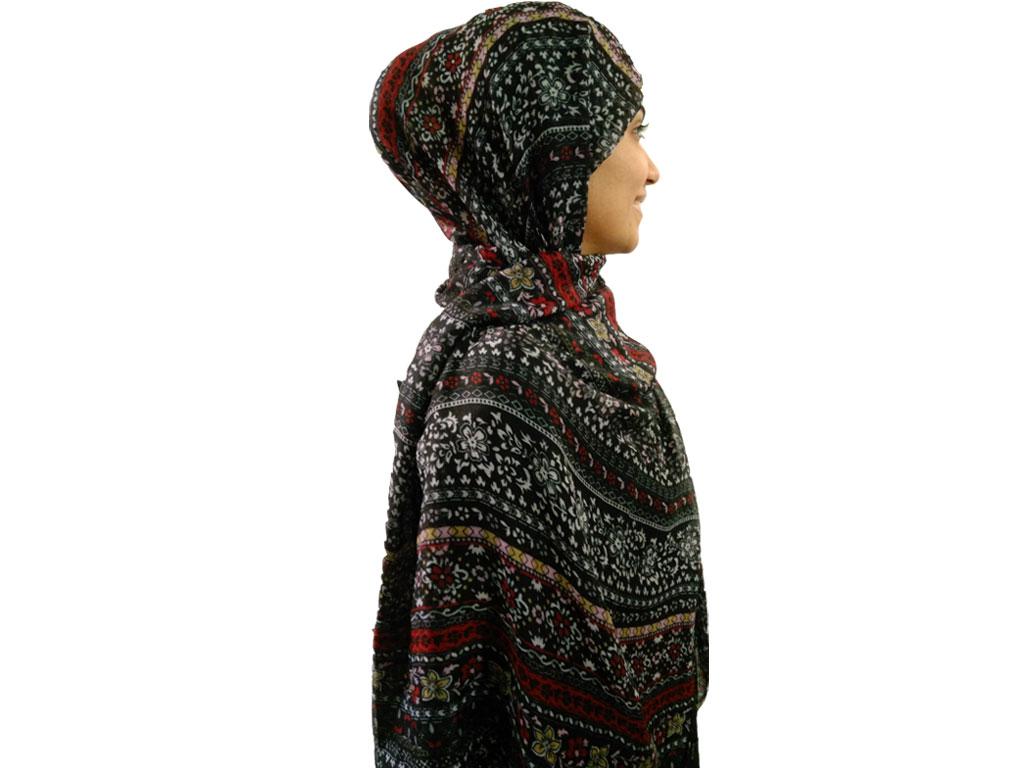 شال نخی گل گلی مشکی 724   خرید شال خنک تابستانی   فروشگاه تخصصی شال و روسری کاشانه