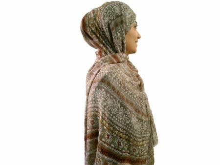 شال نخی گل گلی نسکافه ای 725 | خرید شال نخی تابستانی خنک | فروشگاه تخصصی شال و روسری کاشانه