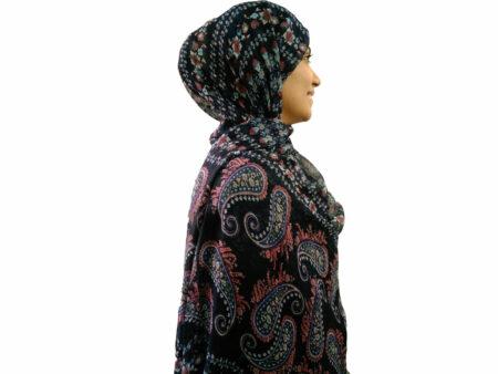 شال نخی بته جقه سرمه ای 726 | خرید شال سرمه ای تابستانی | فروشگاه تخصصی شال و روسری کاشانه