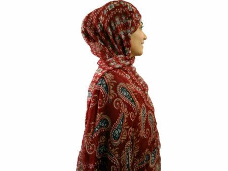 شال نخی بته جقه قرمز 727 | خرید شال نخی تابستانی | فروشگاه تخصصی شال و روسری کاشانه