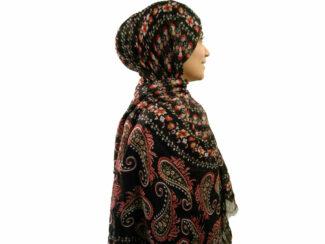 شال نخی بته جقه مشکی 728 | خرید شال نخی خنک تابستانه | فروشگاه تخصصی شال و روسری کاشانه