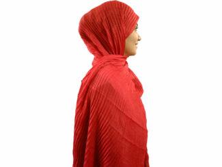 شال پلیسه لمه دار قرمز 741 | خرید شال پلیسه قرمز | فروشگاه تخصصی شال و روسری کاشانه