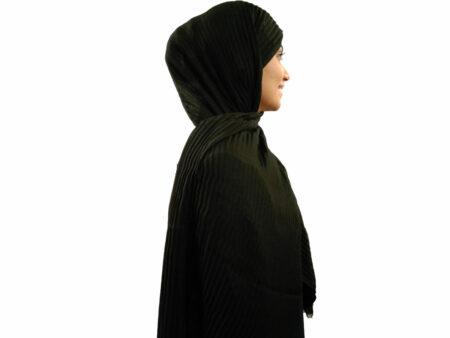شال پلیسه نخی مشکی 748 | قیمت شال پلیسه مشکی | فروشگاه تخصصی شال و روسری کاشانه