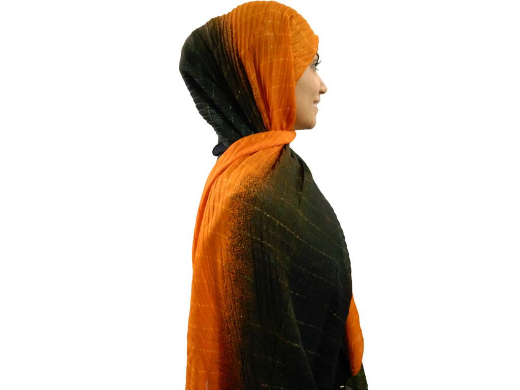 شال پلیسه طیفی مشکی نارنجی 758   خرید شال طیفی نارنجی مشکی   فروشگاه تخصصی شال و روسری کاشانه