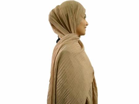 شال پلیسه خاکی 769 | خرید شال پلیسه | فروشگاه تخصصی شال و روسری کاشانه