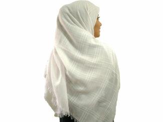 روسری نخی سفید ریشه پرزی 787 | خرید روسری سفید | فروشگاه تخصصی شال و روسری