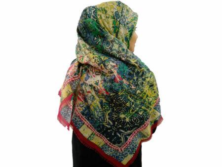 روسری نخی لطیف حاشیه سرخابی 796 | فروشگاه اینترنتی کاشانه