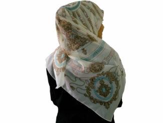 روسری حریرکرپ سفید 802