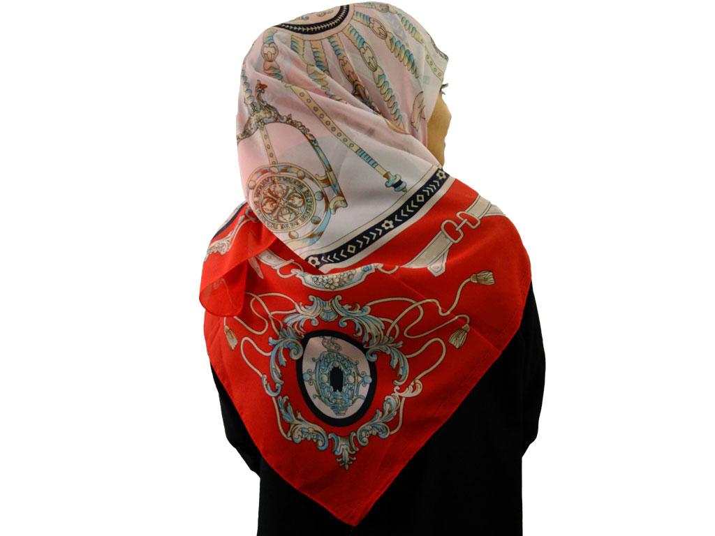 روسری حریرکرپ قرمز 803