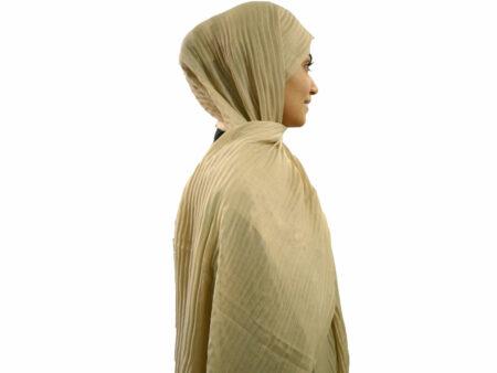 شال پلیسه کرمی 804 | خرید شال کرمی پلیسه دار | فروشگاه تخصصی شال و روسری کاشانه