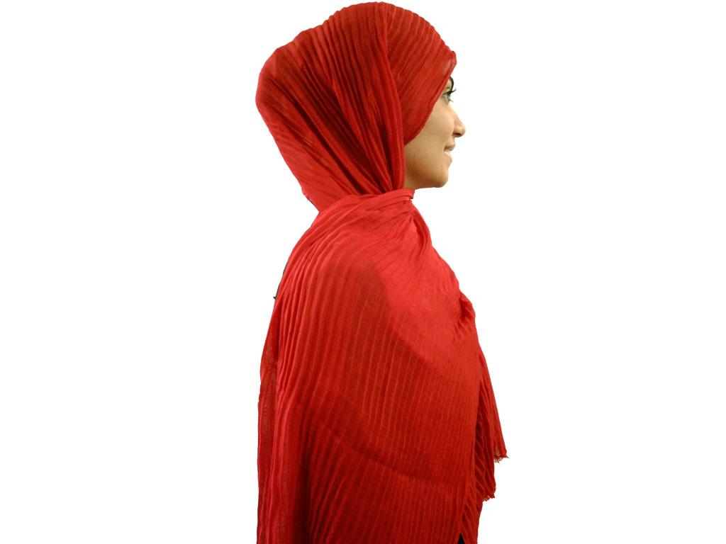 شال پلیسه قرمز 805 | خرید شال قرمز پلیسه دار | فروشگاه تخصصی شال و روسری کاشانه