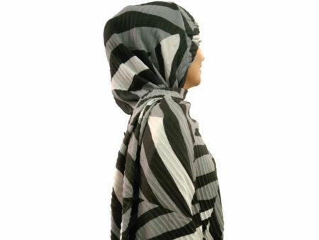 شال ببری پلیسه طوسی مشکی 806 | مدل شال انیمال پرینت | فروشگاه تخصصی شال و روسری کاشانه