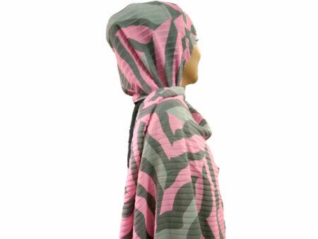 شال ببری پلیسه طوسی صورتی 807 | قیمت شال انیمال پرینت | شال ببری | فروشگاه تخصصی شال و روسری کاشانه