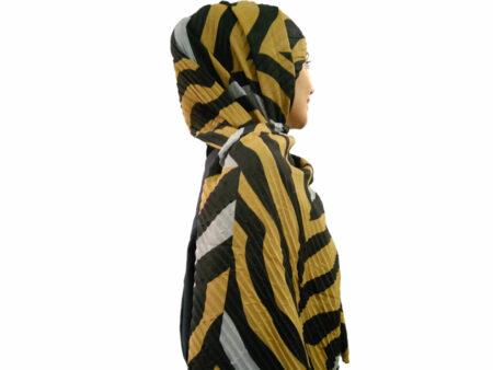 شال ببری پلیسه خردلی مشکی 808 | قیمت شال خردلی | فروشگاه تخصصی شال و روسری کاشانه