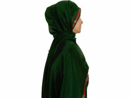 شال نخی نواردوزی شده سبز تیره 631 | خرید شال سبز تیره | خرید شال روسری