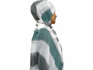 شال راه راه پولک دار سبز دودی 865 | خرید اینترنتی شال و روسری
