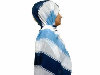 شال راه راه پولک دار آبی سرمه ای 866 | خرید اینترنتی شال و روسری