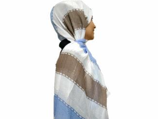 شال راه راه پولک دار آبی قهوه ای 867 | خرید شال راه راه | خرید اینترنتی شال و روسری