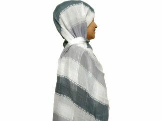 شال راه راه پولک دار دودی طوسی 868 | خرید اینترنتی شال و روسری | خرید شال راه راه