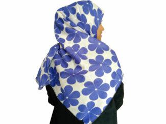 روسری طرح گل سفید آبی کاربنی 870 | خرید شال طرح گل | شال سفید آبی کاربنی | خرید اینترنتی شال