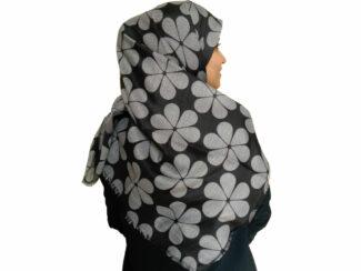 روسری طرح گل دودی طوسی 871 | خرید شال طرح گل | شال دودی طوسی | خرید اینترنتی شال