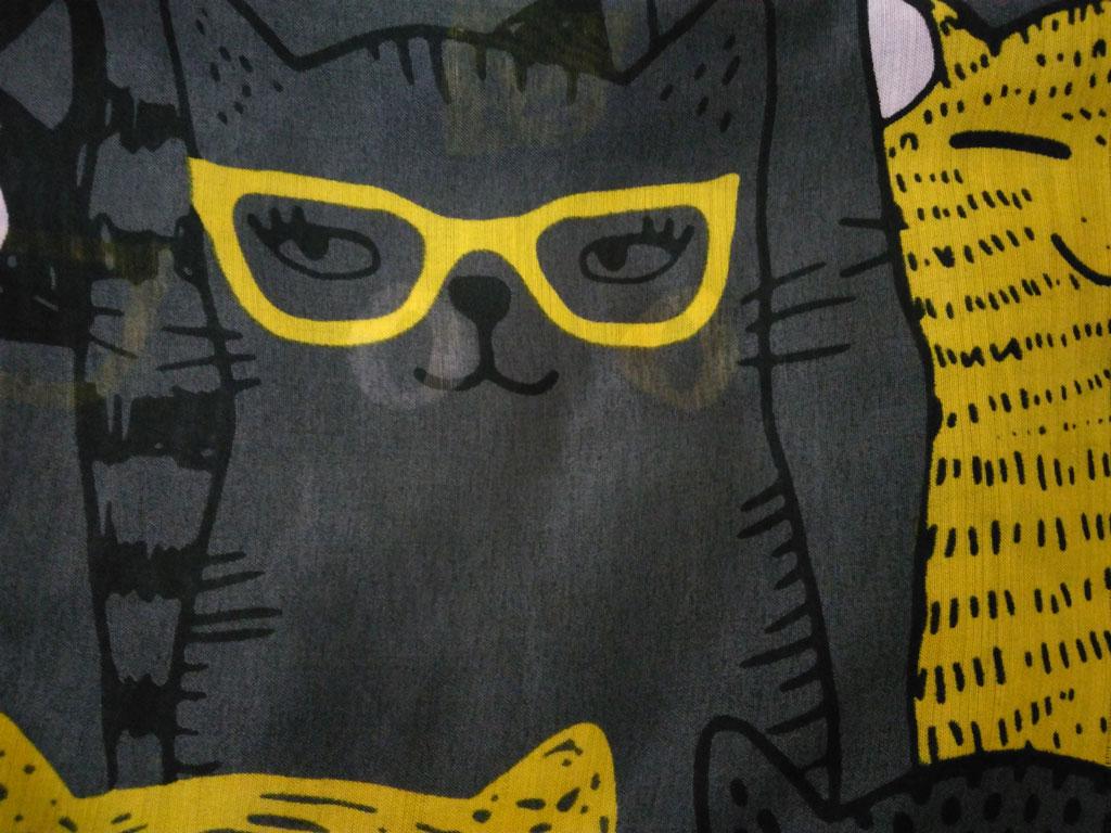 روسری نخی پترن گربه دودی زرد 888   خرید اینترنتی روسری طرح گربه   خرید روسری گربه ای