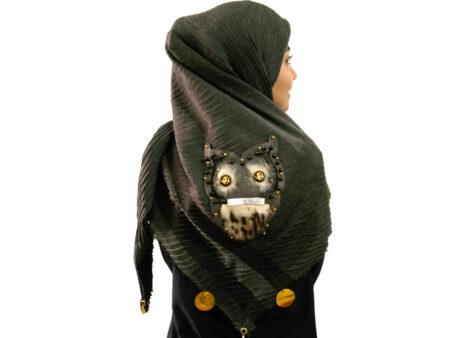 روسری پلیسه مشکی جغدی 892 | خرید روسری پلیسه مشکی | فروشگاه تخصصی شال و روسری کاشانه